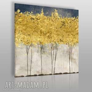 Obraz na płótnie - ZŁOTE DRZEWA W KWADRACIE 80x80 cm (77102), drzewa, abstrakcja