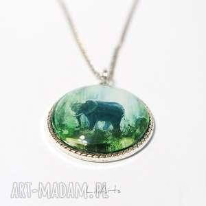 ręczne wykonanie wisiorki medalion, naszyjnik - słoń duży