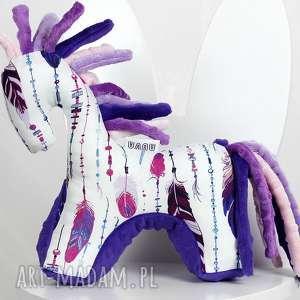 koń pióra fiolet - przytulanka sensoryczna, maskotka, pluszak, niemowlę