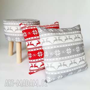 fjerne m szary świąteczny jelonek -stołek, taboret, puf, stołekskandynawski, puf