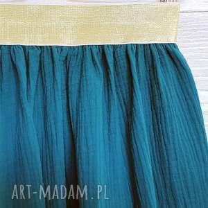 ręcznie zrobione spódnice muślinowa spódnica na złotej gumie, malachit i złoto