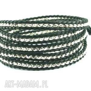 Snake Wrap: Metal platerowany srebrem, skóra, rzemień, metal,