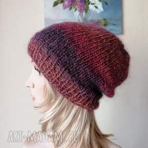 ręcznie wykonane czapki z żurawiną puszysta, ciepła, czapka klasyczny