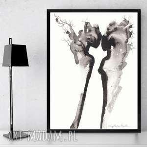 NOWOCZESNA GRAFIKA CZARNO-BIAŁA MINIMALIZM, rysunek tuszem Cykl Body Flowers /16/