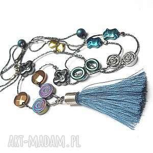 colours mix boho hematite - naszyjnik - długi, srebro, hematyty, chwost, boho