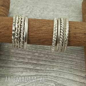 pierścionki - obrączki ze srebra, ręcznie piłowane wzory, pierścionek srebra