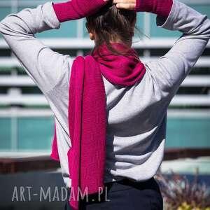 handmade szaliki ciepły szal w kolorze fuksji