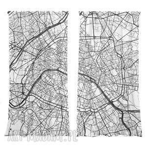 komplet zasłon maps paris, loft, zasłony w mapy, paryż zasłona, zasłona