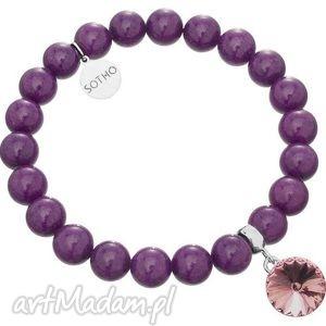 fioletowa bransoletka jadeit fioletowy kryształ rivoli swarovski elements