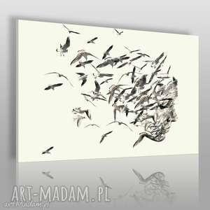 Obraz na płótnie - PORTRET PTAKI 120x80 cm (61401), twarz, portret, kobieta, ptaki