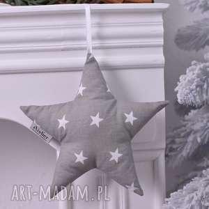 ateliermalegodesignu gwiazdka świąteczna szara, dekoracja-świąteczna