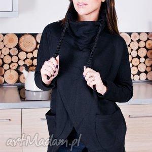 bluzy modna damska czarna asymetryczna bluza z kominem sznurkami, redmasterclothes
