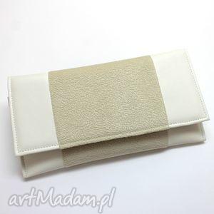 kopertówka - skóra biała i tkanina kremowa, kopertówka, elegancka, wieczorowa