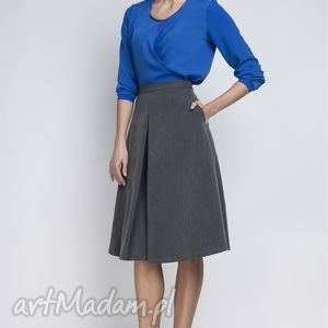Spódnica, SP110 grafit, elegancka, rozkloszowana, kontrafałda, kobieca, matura