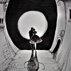 Klimatyczna praca piórkiem ZAKOCHANI artystki plastyka Adriany Laube, grafika