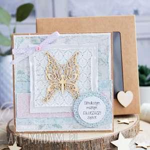 handmade kartki przeurocza kartka na każdą okazję w pudełku. Urodziny. Imieniny