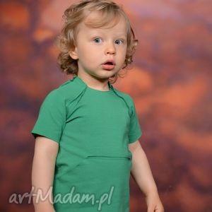 letnia bluzeczka z kieszonką kangurką zielona, bawełna, surowa, kieszeń