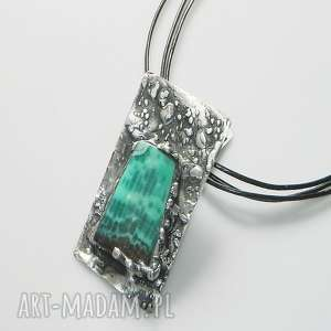 zielony wisior, miedziany, unikalna-biżuteria, unikatowa-biżuteria