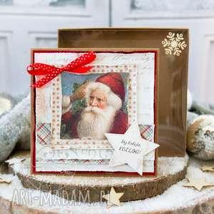 hand-made na święta upominek piękna kartka bożonarodzeniowa w pudełeczku. Prezent pod