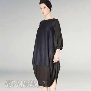 ręcznie wykonane sukienki granatowo czarna sukienka oversize