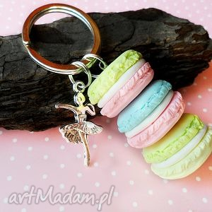 Tęczowe macaroniki - brelok, fimo, macaron, tęczowy, kolorowy, brelok