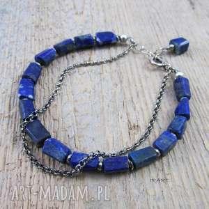 bryłki lapis lazuli z łańcuszkiem, lapis, lazuli, srebro, bransoletka, oksydowane