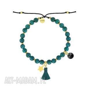 bransoletka z jadeitów na sznurku - boho lavoga - srebro pozłacane