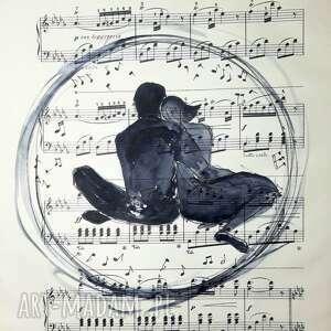 hand-made dekoracje w muzyce akwarela na papierze z nutami artystki adriany laube