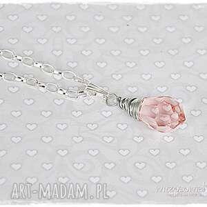kropla radości - róż - naszyjnik, wisior, kropla, biżuteria, rodości