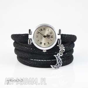 Prezent Zegarek, bransoletka - Księżyc owijany, czarny, zegarek, rzemienie, księżyc