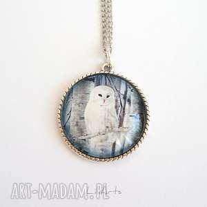 ręczne wykonanie naszyjniki medalion, naszyjnik - biała sowa