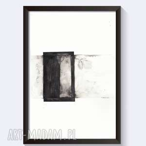 OBRAZ malowany czarnym tuszem, Cykl Point Of Balance 21x30, obraz-nowoczesny