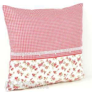 hand-made poduszki poduszka dekoracyjna 40x45cm - kratka i różyczki