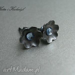 kwiatuszki - blue sky, srebro, swarovski,