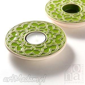 lampiony geometryczne zielone, lampion, świecznik, ceramiczny, ornamentowy, wiosenny