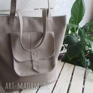 na ramię beżowa, miejska torba w rozmiarze xl, shopper