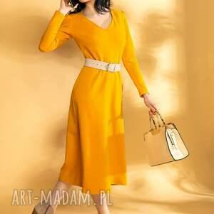 musztardowa sukienka midi dzianinowa, musztardowa, wygodna, midi