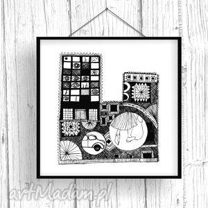 Blokowisko... 30x30 cm., ilustracja, miasto, plakat, wydruk