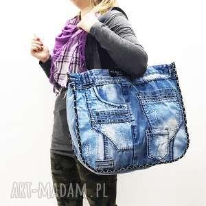 handmade na ramię duża torba upcykling jeans 21 kosmo