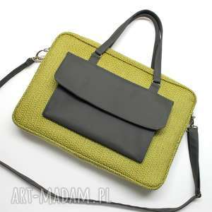 torba na laptop - tkanina w jodełkę lemon, elegancka, nowoczesna, laptop, biuro