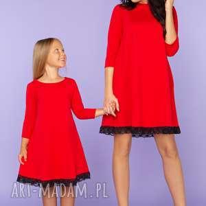 KOMPLET DLA MAMY I CÓRKI, elegancka sukienka z koronką, model 25, czerwony,