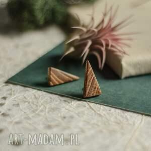 trójkątne kolczyki z drewna akacji, kolczyki, drewniane, drewniana
