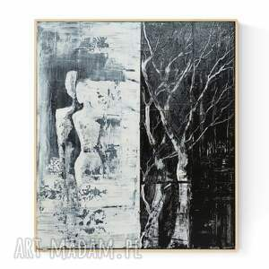obraz na płótnie w ramie 70x80 cm, abstrakcja czarno biała, ręcznie