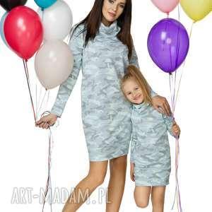 komplet dla mamy i córki - sukienka dresowa, sukienka, komin, ściągacz