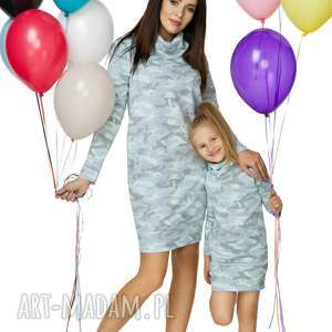 hand-made sukienki komplet dla mamy i córki - sukienka dresowa
