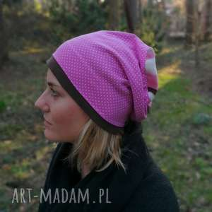 czapka damska typ sportowy w kropki grochy paski różowa handmade - czapka, etno