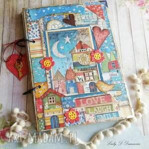 Pamiętnik/ Sekretnik z domkiem patchworkowym Home Sweet , notes, domek, zegar