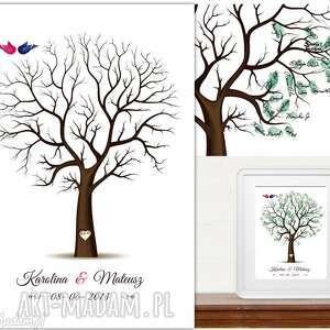 hand made księgi gości eleganckie drzewo wpisów gości weselnych 50x70 cm 2 tusze.