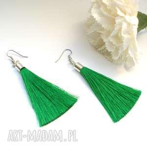 Zielone kolczyki z chwostami, kolczyki, chwosty, długie, lekkie, wesele