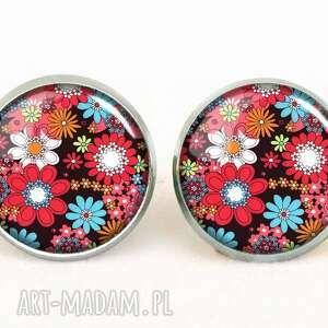 handmade kolczyki kwiatuszki - kolczyki wkrętki
